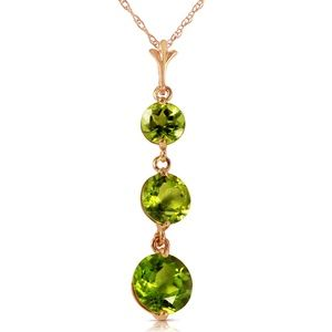 14K. SOLID GOLD NECKLACE WITH NATURAL PERIDOTS